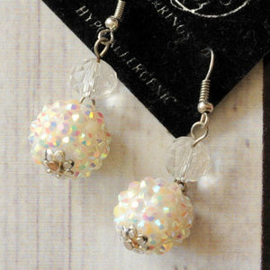 popcorn sugar Snowball Glitz pierced drop earrings